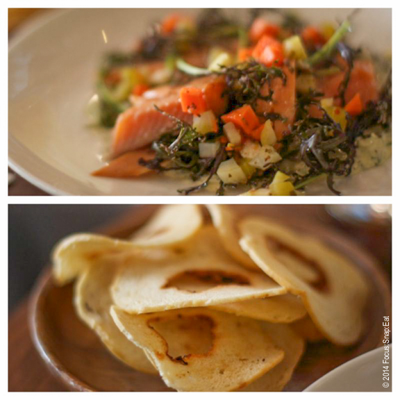 Smoked trout with pickled vegetables (top) and served with thinly sliced bialy chips ($16)