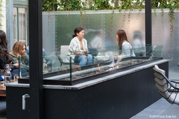 The outdoor patio is a popular spot. Despite not having a view, it has a Zen-like atmosphere.