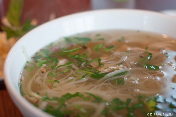 Monster Pho Combination, $12, includes meatballs, tripe and rare meat.