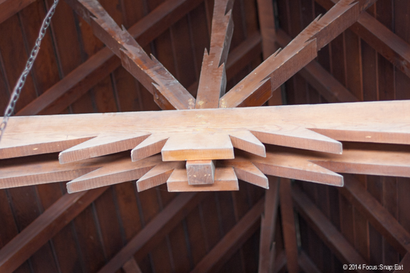 The restaurant's exposed ceiling had an interesting carved outline for the beam.