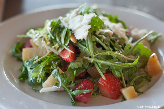 Daylight Farms Beet Salad ($9.95) with strawberries, wild arugula, frisee, pistachios and feta cheese