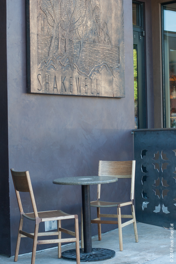 The sole outdoor table in the neighborhood restaurant Shakewell