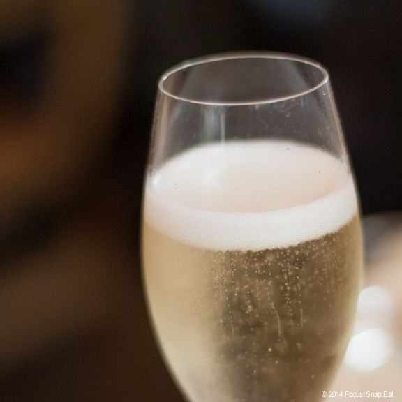 A glass of cava, the Spanish sparkling wine.