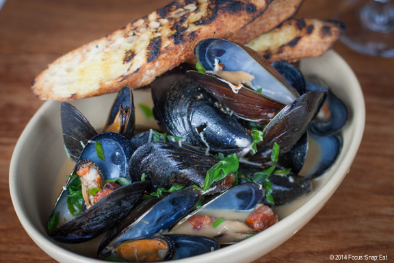 Mussels with chorizo and white wine, $12