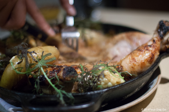 Whole wood oven chicken ($38) serves two and the server cuts the chicken at your table. (Not on the level of Tosca Cafe or Zuni but nice.)