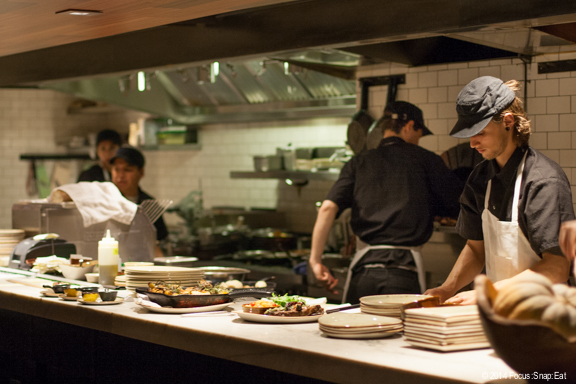 The busy open kitchen