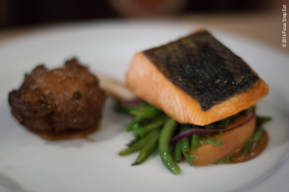 My friend Ann ordered the daily fish special, which was wild salmon with an fennel, artichoke fritter and haricot verts.