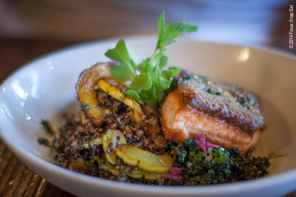 My friend Craig went the healthy route and ordered the pan-roasted King salmon ($17) with roasted vegetables, kale salsa verde-quinoa salad and meyer lemon buerre blanc