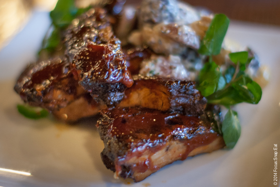 Baby back ribs with Memphis-style BBQ sauce and a mixed marble potato salad ($15)