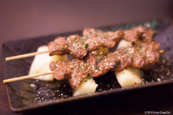 Chicken hearts yakitori ($5) with pickled pineapple. The hearts were cooked just right so they weren't chewy.