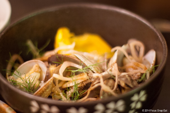 Local Manila clams ($16) were flavored with lamb chorizo, winter squash, miso dashi, kombu butter, black garlic shoyu and pickled shallot. I found the winter squash had an interesting texture, like it was almost fried and then acted as a sponge to absorb the miso dashi broth.