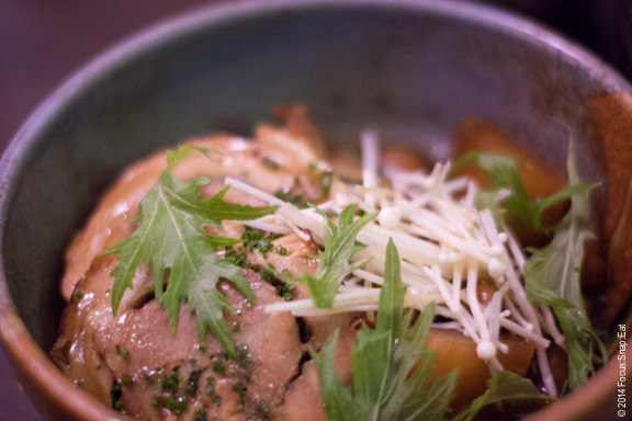 Competing for best dish with the beef tongue is this pork belly ($16), cooked tender served with cranberry beans, misozuke liquid and daikon.