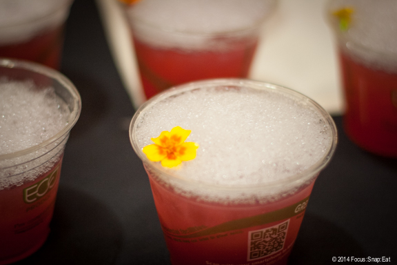 One of the more creative drinks was this pomegranate margarita with salted air (or foam) from Does Ojos Hospitality.