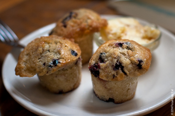 Little huckleberry muffins with honey butter ($6)