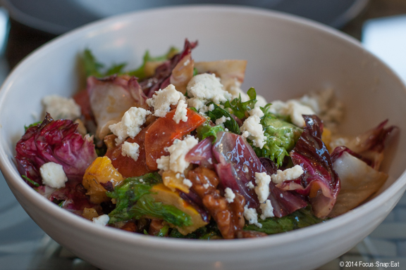 Wam chicory salad ($12) with persimmons, delicata squash, quince puree, walnut and blue cheese with maple vinaigrette