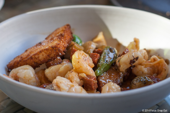 My friend Tat ordered the Louisiana gulf shrimp ($14) with fried grits, padron pepper, sunchoke, pepperoni and leeks. He liked the combination of ingredients but didn't feel like it reminded him of what he would get in New Orleans.