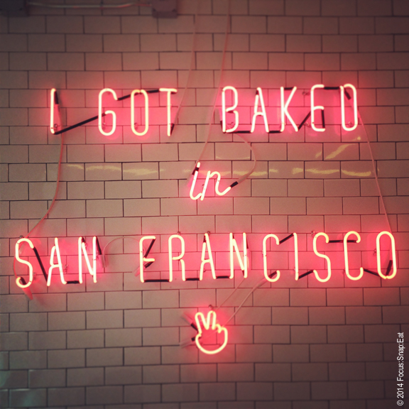 Fun neon sign inside Mr Holmes Bakehouse may be all too appropriate for the neighborhood.