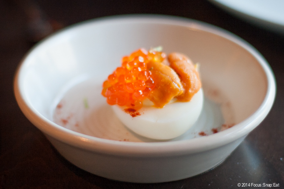 Sitting at a table next to light  instead of direct light can create a nice soft light for the right dish, like this roe and sea urchin deviled egg dish at Urchin Bistrot in the Mission.