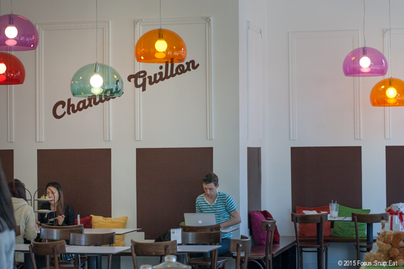 Chantal Guillon's space had a lot of color that represented the flavors of the signature macarons.