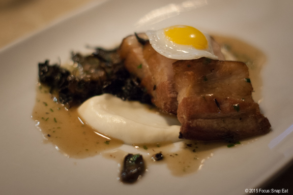 Smoked Berkshire pork belly with parsnip puree, black trumpet mushrooms and quail egg ($13). This was the one dish that I felt could have been better. The pork belly was a bit chewy for me.