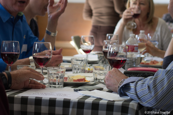 A fun gathering of food and wine
