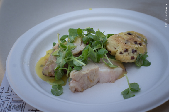 """Fanciest bite goes to Faultline's """"Beer"""" biscuit and bacon with smoked pork belly on a rosemary-currant biscuit infused with FBC pale ale with an orange marmalade and micro basil greens with  jalapeno-citrus vinaigrette."""