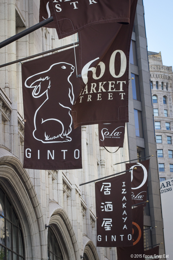 "Banners outside on Market Street. Ginto means ""silver rabbit"" in Japanese."