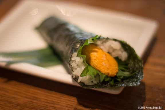 Sea urchin handroll or uni temaki ($7.95)