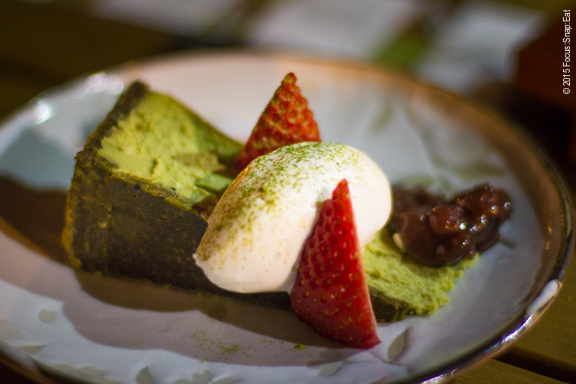 Matcha cheese cake with black sesame crust was a more satisfying dessert.