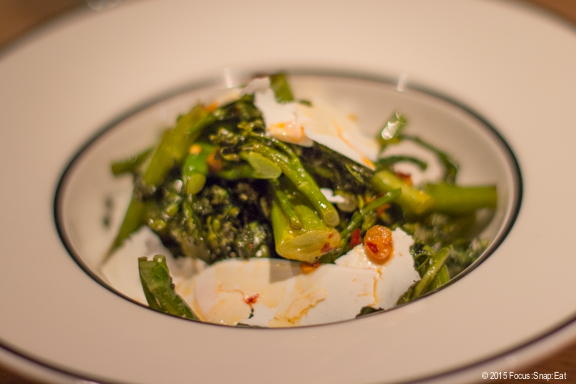 Side of broccolini ($9) with ricotta salada, bagna cauda, and chili oil.