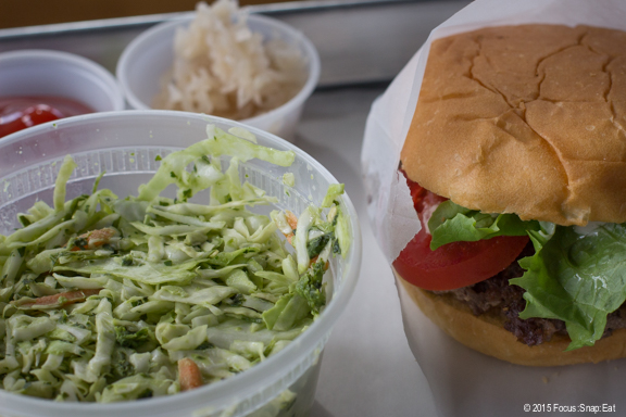 The side order of spicy cole slaw ($3) was a large container.