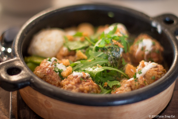 The large plate of Lamb Albondigas (meatballs), $26, with saffron, fava beans, yogurt, and a poached egg. The lamb had a soft texture but lack much lamb flavor. It tasted more like pork.