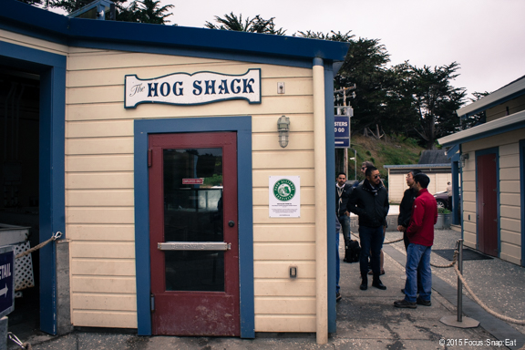 """With a reservation at the picnic tables, you're allowed to buy fresh oysters from the """"Hog Shack"""" and shuck the oysters yourself back at the table."""
