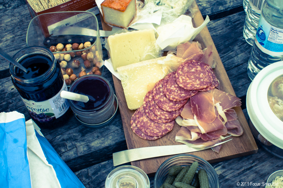 Charcuterie and cheese platter to munch on while we waited for the oysters to be shucked.