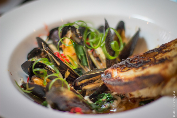 Mussels with XO sauce ($14) was a comforting bowl of mussels with white wine and Tuscan kale and pickled bean sprouts.
