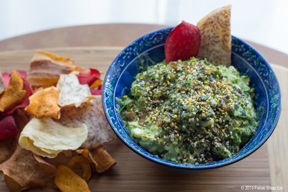 I served my furikake guac with some root vegetable chips such as sweet potato and taro.