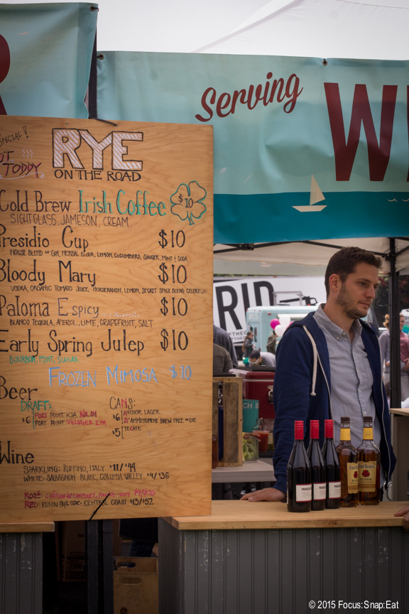 Rye has a large beverage stand selling brunch-type cocktails.