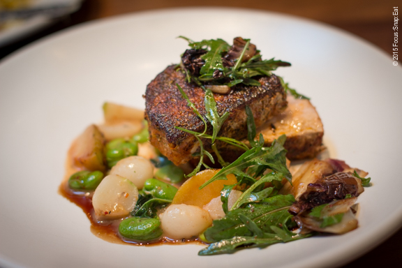 Pork tenderloin with roasted plums at the Advocate