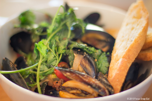 Chorizo and mussels in a beer broth with Fresno chili, $18