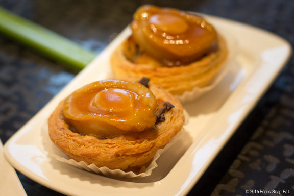 Abalone tart ($8.88) is a custard tart topped with a small slice of abalone with a savory sauce.