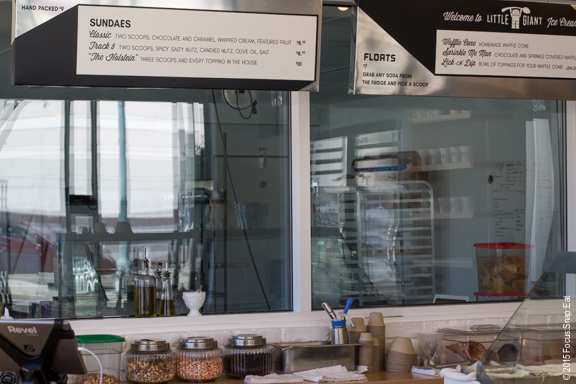 Large kitchen is right through the glass wall so you can see them making the ice cream (the reflection unfortunately makes it hard for you to see).