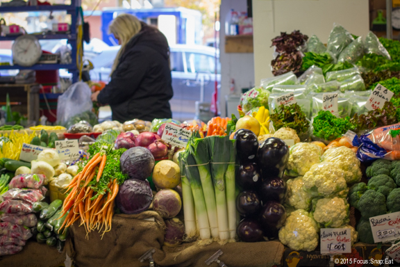 Vegetable stand at Atwater Marche