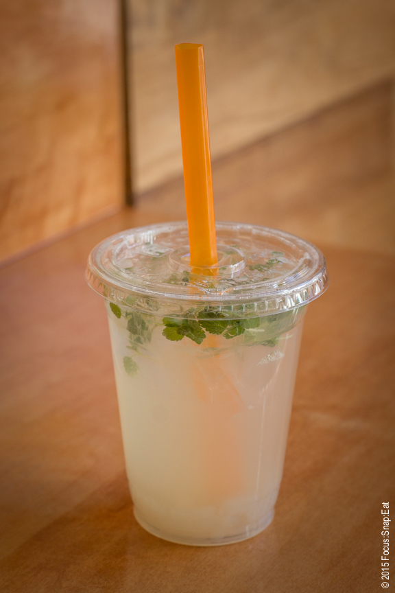 Ginger lemonade with lychee jelly and mint ($4)