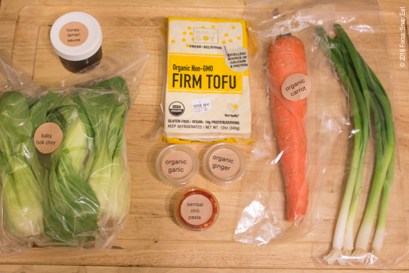 All the ingredients to make the tofu dish. (Not pictured is the forbidden rice, which was cooking in my rice cooker.)