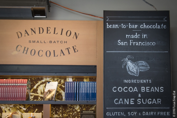Dandelion Chocolate is the first kiosk in the new arcade section.