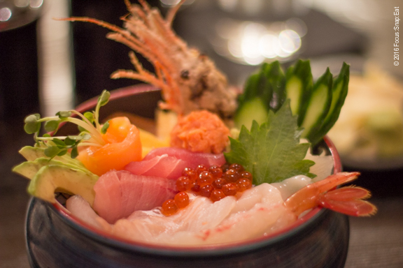 Chirashi bowl with an assortment of raw fish