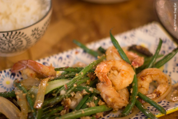 Spicy garlic shrimp with bok choi, haricots verts, oyster mushroom and onion, $17