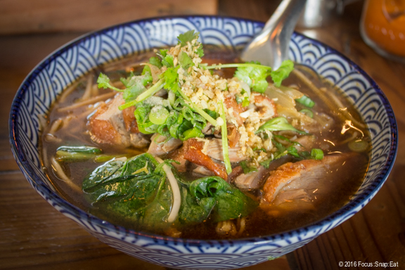 Duck noodle soup ($10) with honey-roasted duck, bean sprouts, and spinach.