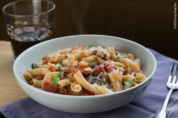 Pasta dish using Napa Grass Farmer's Italian sausages.