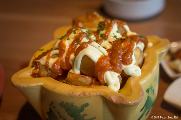 Las Bravas, diced crispy potatoes with Biscayne sauce, all-i-oli, $8, a traditional potato dish that unfortunately turns the potatoes mushy with all that sauce.